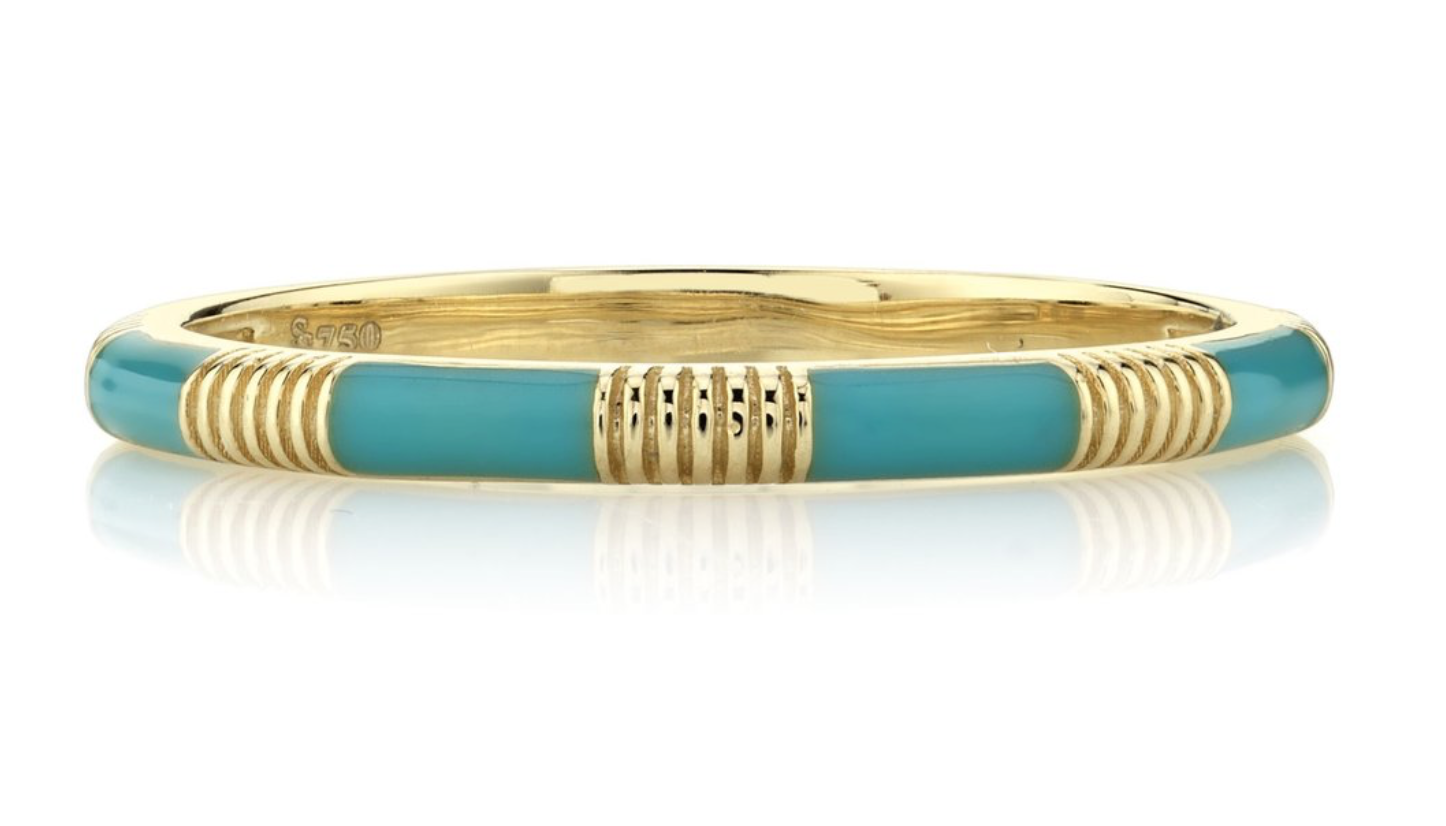 Turquoise Enamel Stacker Ring with Strie Details (6.5)