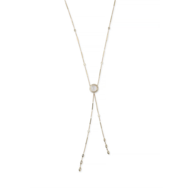 14K YG Pave Round Moonstone + Diamond Marquise Bolo Y Necklace