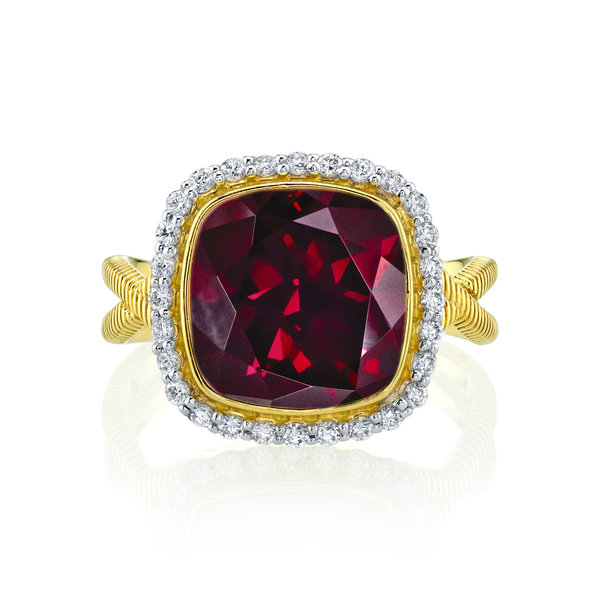 Rhodolite Cushion Ring with White Diamond Detail