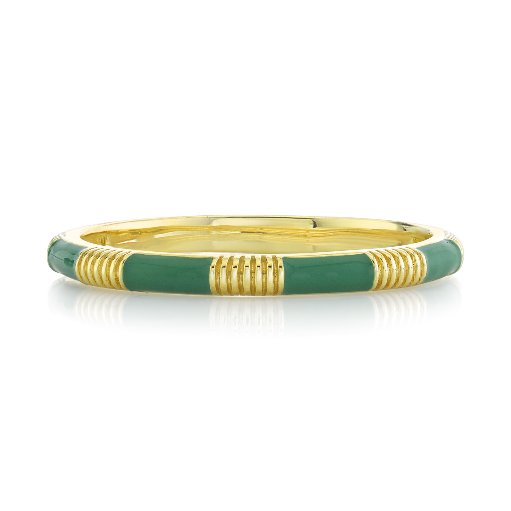 Green Enamel Stacker Ring with Strie Details