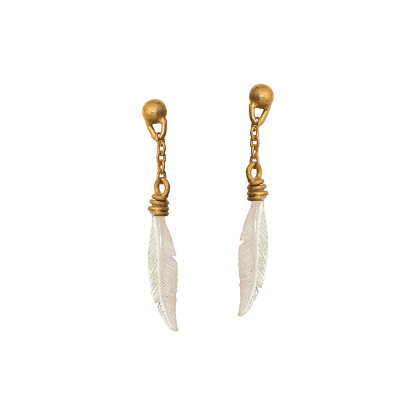 Mother of Pearl Carved Feather Earrings