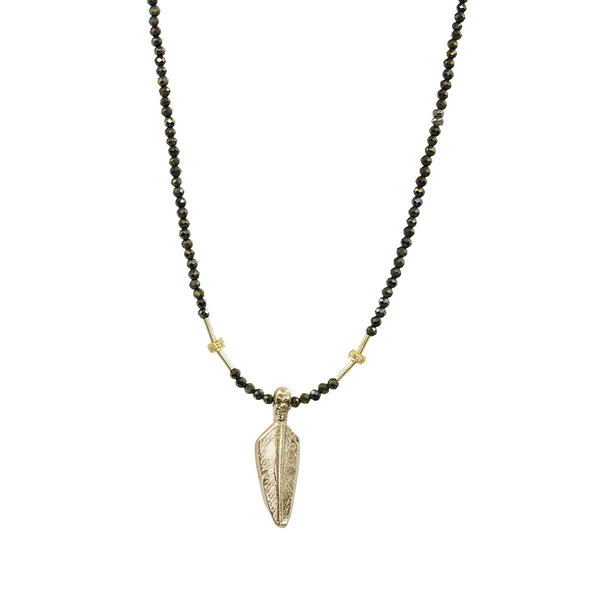 Bronze Skull Feather on Pyrite Strand