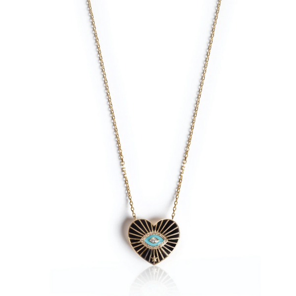Heart Pendant with Black and Turquoise Enamel, Brown Diamonds and White Diamonds