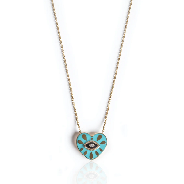 Heart Pendant with Turquoise and Black Enamel, Brown and White Diamonds