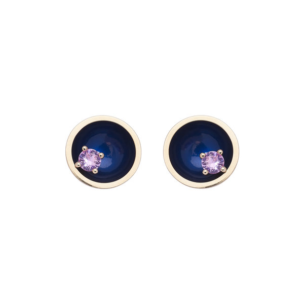 Large Floating Star Earrings Pink Sapphire 18K  Gold