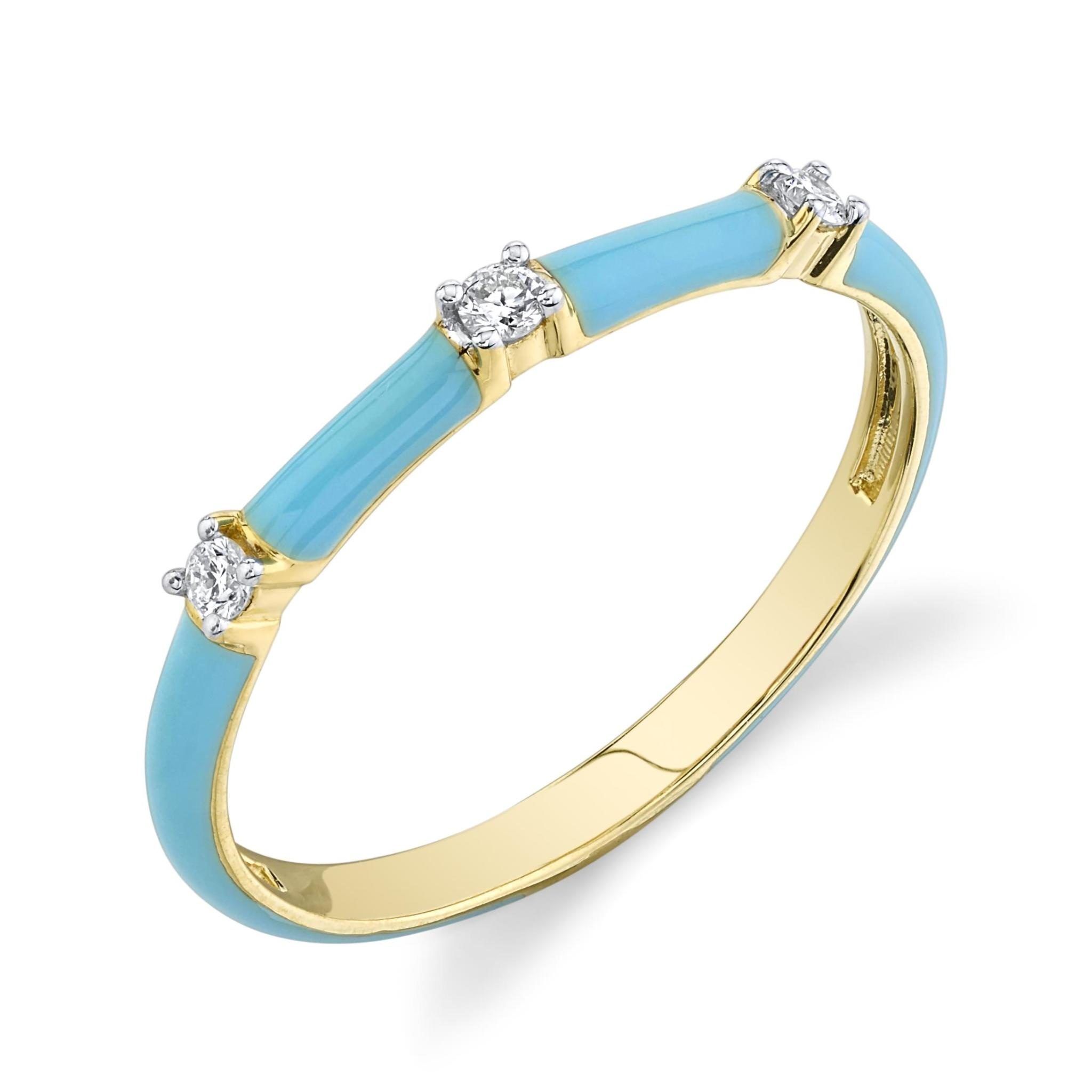 Turquoise Enamel Stackers Ring with White Diamond Details (6)