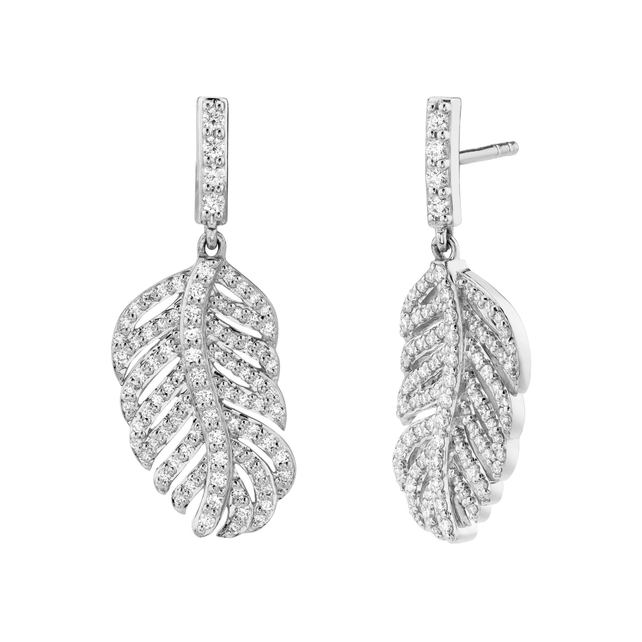 Petite Feather Drop Earring with White Diamond Detail
