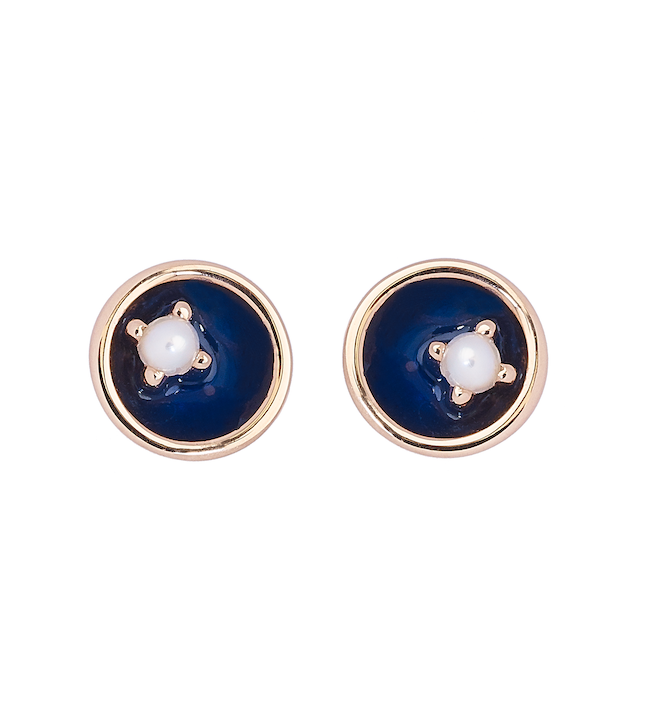 Small Pearl Floating Star Earrings 18K Gold