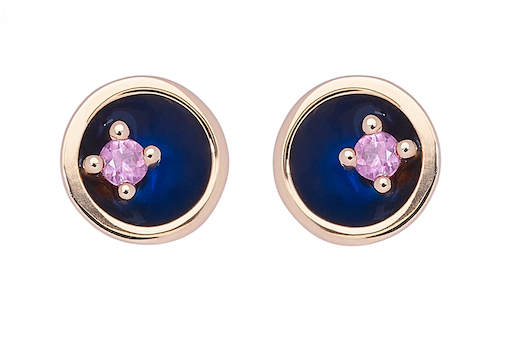 Small Floating Star Earrings - Pink Sapphire 18K Gold