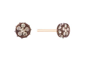 Small Flare Earrings - Champagne Diamond 18K Gold