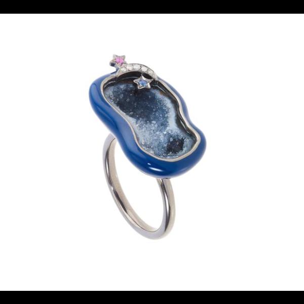 Midnight Enamel Geode Cocktail Ring 18K Gold, Rhodium Plated