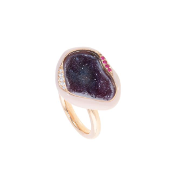 Shell Enamel Geode Cocktail Ring 18K Rose Gold