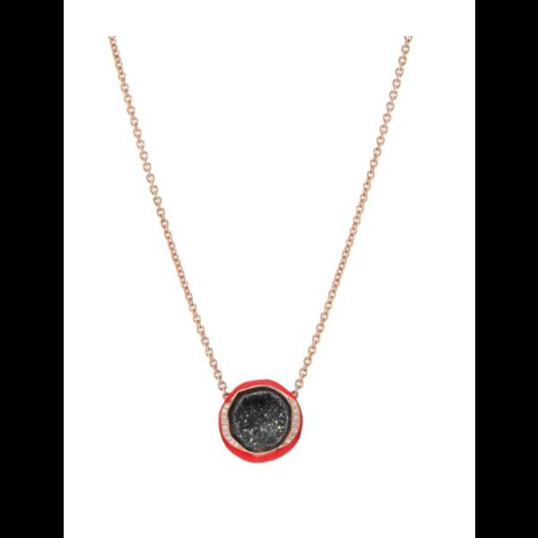 Scarlet Enamel Geode Pendant Necklace 18K Rose Gold