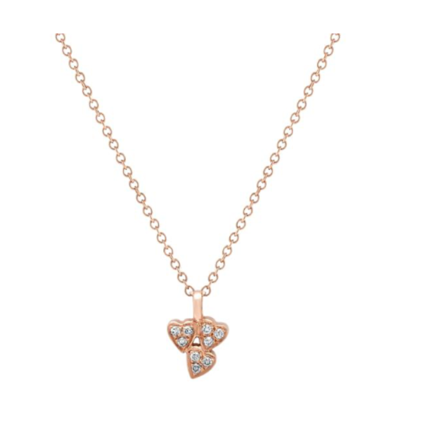 Heart Cluster Diamond Necklace 18K Gold