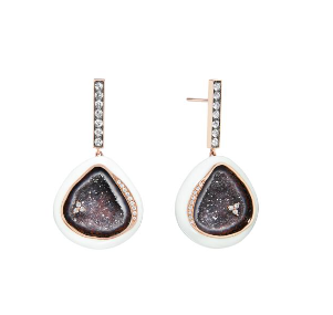 White Enamel Geode & Diamond Bar Earrings 18K Gold