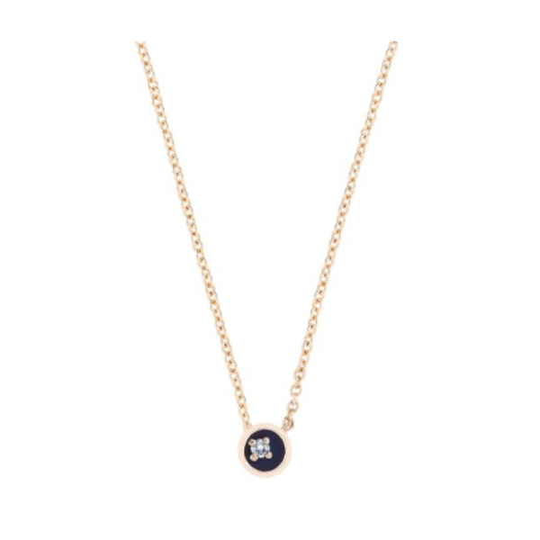Small Diamond Floating Star Necklace - Midnight Blue 18K Gold