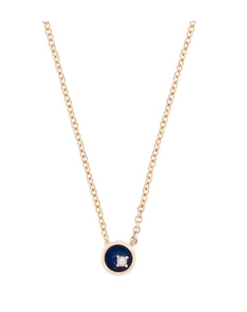 Small Pearl Floating Star Necklace - Midnight Blue 18K Gold