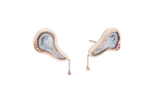 Shell Enamel Geode Climber Earrings 18K Rose Gold