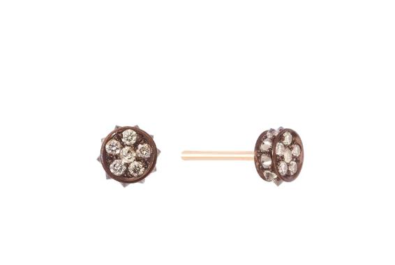 Small Flare Earrings - Champagne Diamond 18K Gold YG