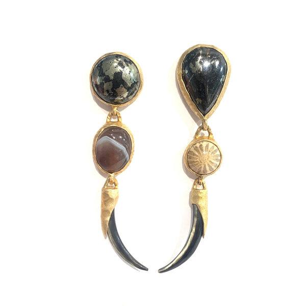 Wabi Sabi 3 Part Earring - Apache Gold, Fossil Coral, and Bostwana Agate