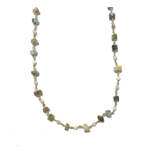 Peruvian opal wire wrap 38 inches with mini hand carved Paua shell shard