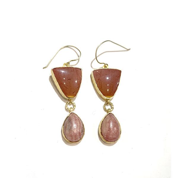 Pink-Mookite and Rhodocrocite earrings