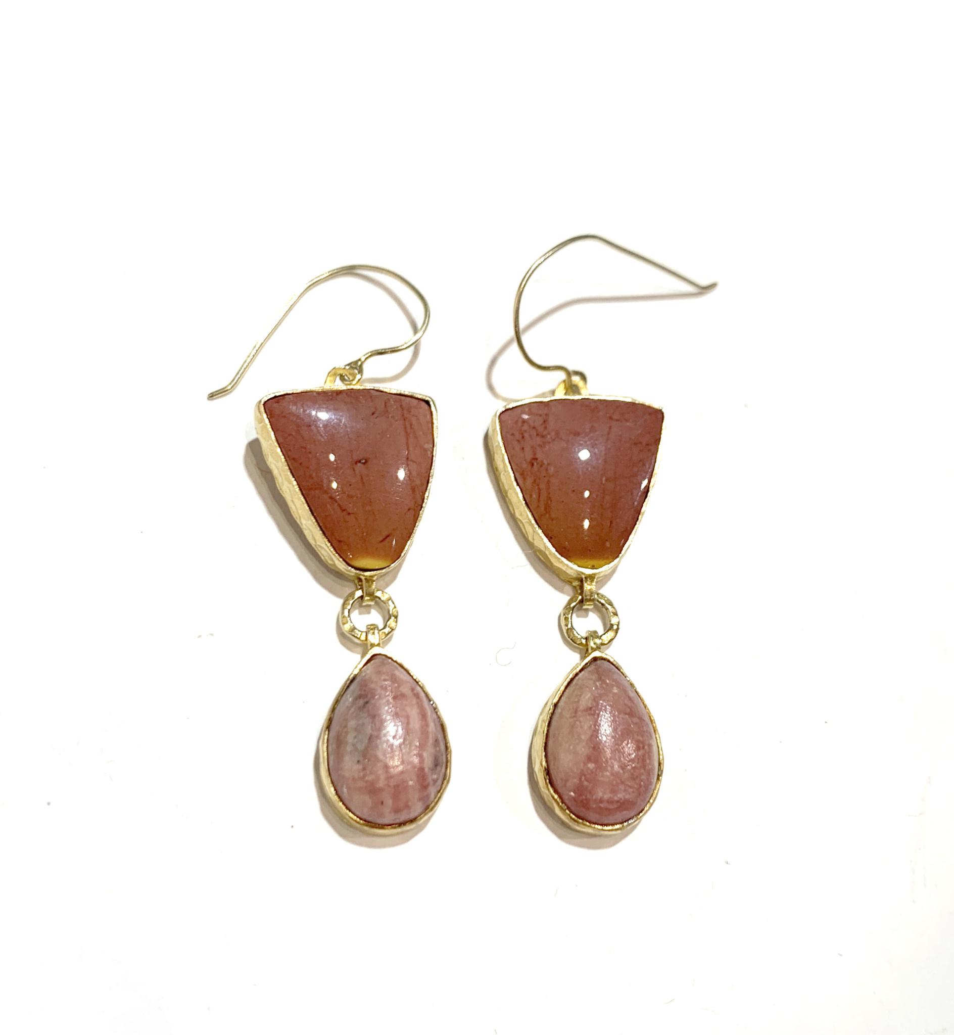 HBJ Pink-Mookite and Rhodocrocite earrings 2 part