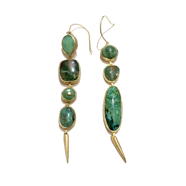 Drop turquoise, ocean jasper from Madagascar, Peru opal earrings