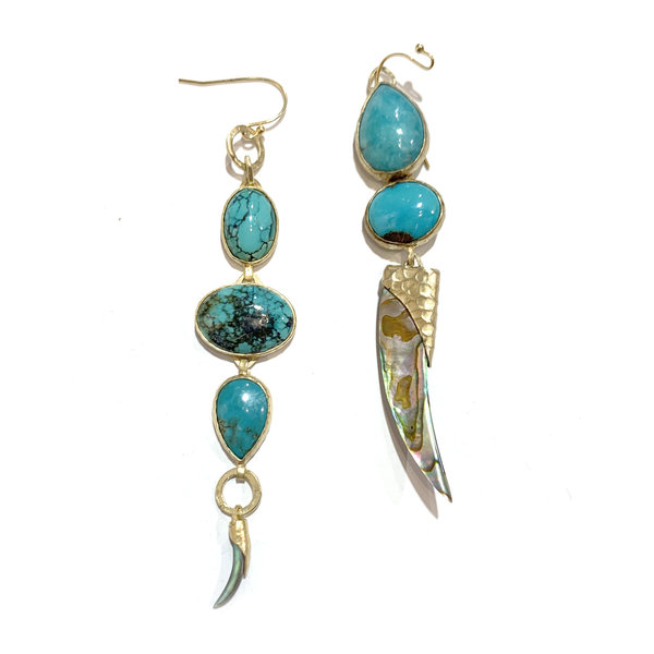 Drop turquoise, Amazonite and Paua shard-large and small earrings