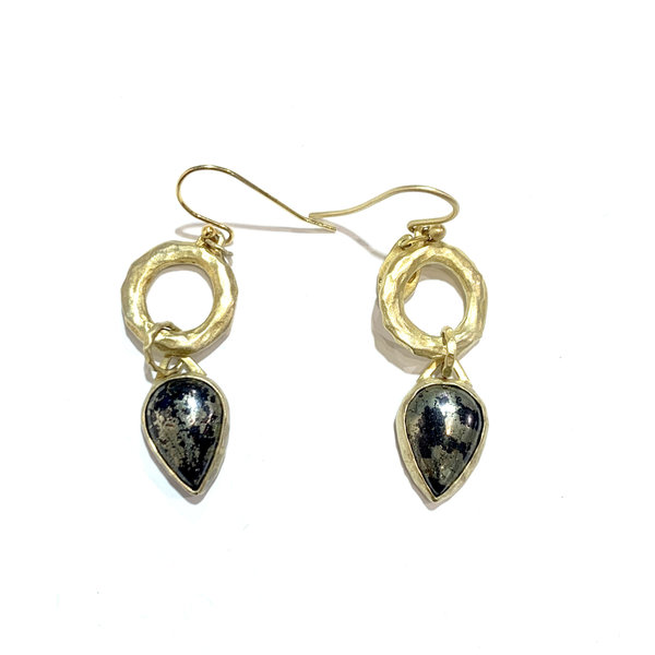 Pear shaped pyrite drops on hammered rings