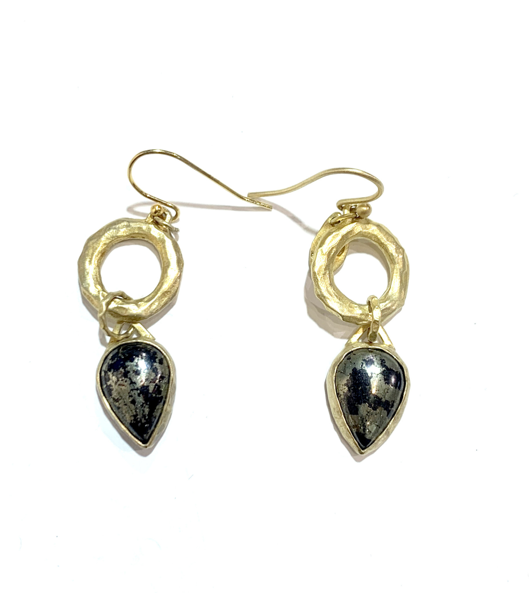 HBJ Pear shaped pyrite drops on hammered rings