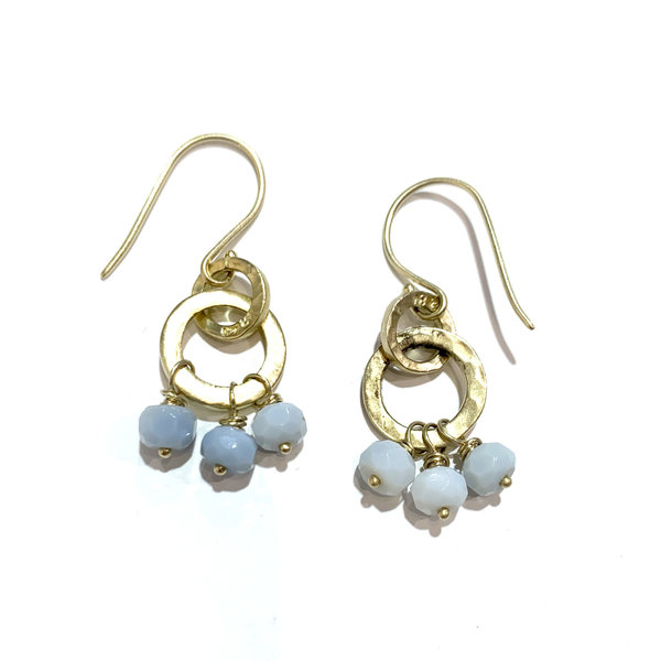 Blue Opal earrings on double hammered rings