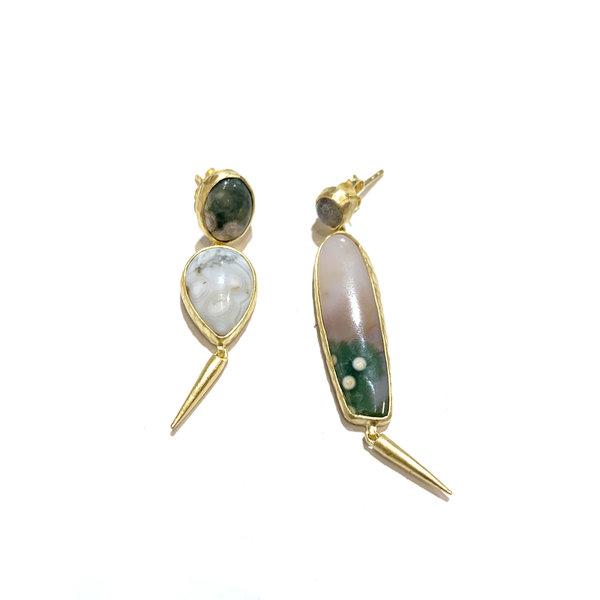 Mix matched ocean jasper and labradorite earrings