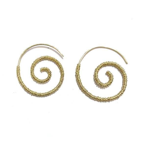 Spiral earrings with individual soldered rings