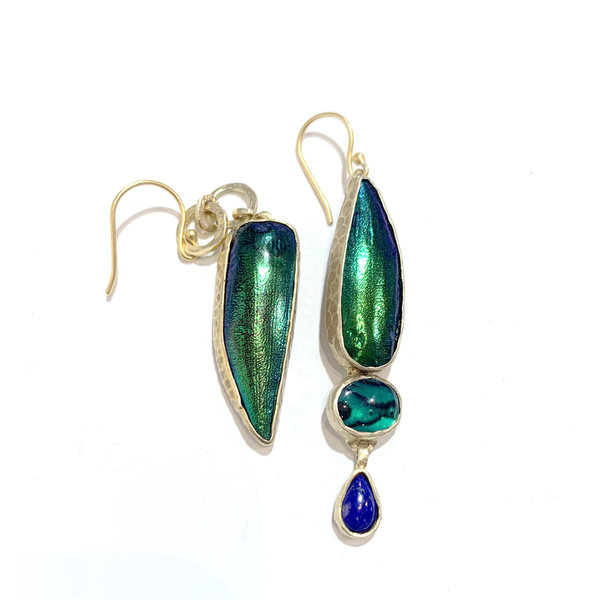 Mix matched Thai Jewel Beetle wing, lapis and green paua earrings