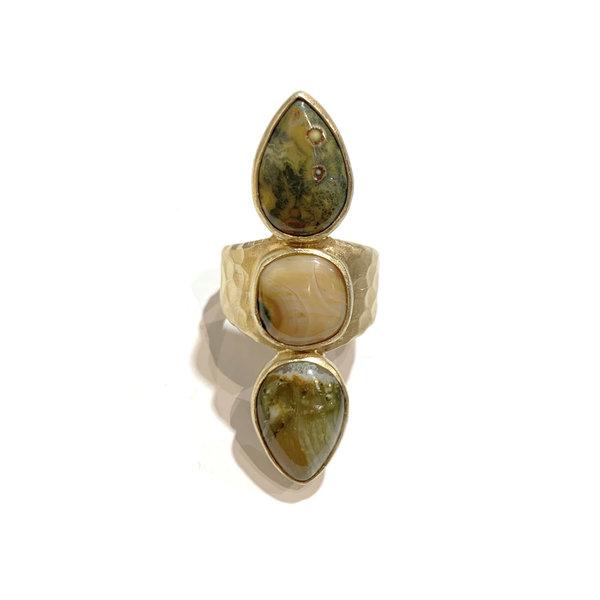Triple ocean jasper ring