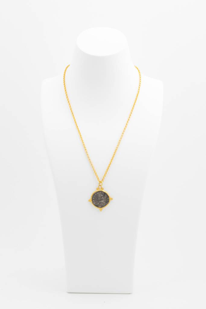 Coin Pendant on 24k Gold Chain