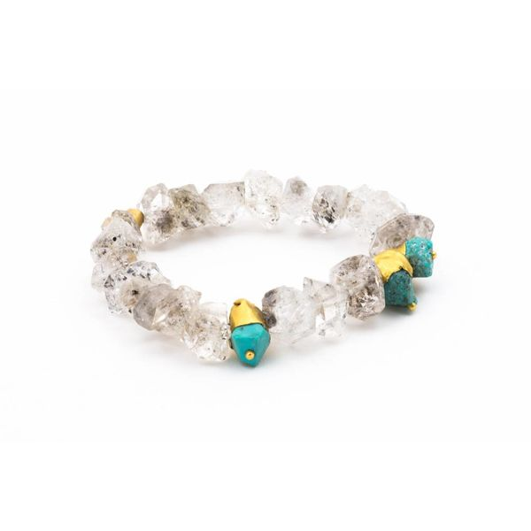 22K GOLD BRACELET WITH TURQUOISE + ONYX + QUARTZ
