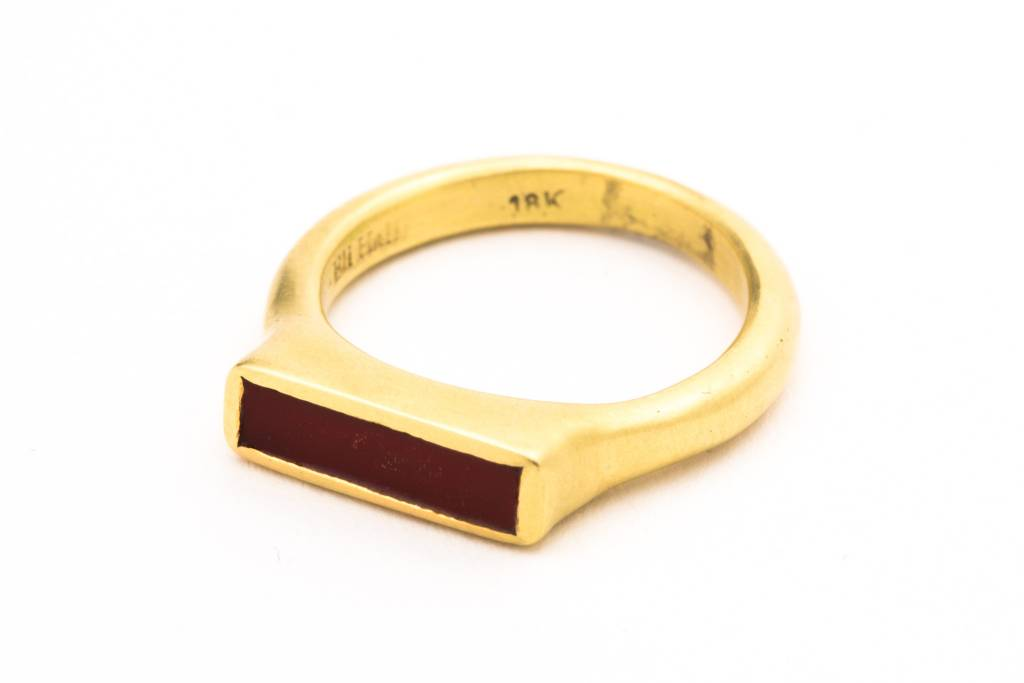 18K GOLD RING SET W/ RECTANGULAR CARNELIAN