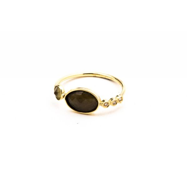 14K YG DIAMOND + GEMSTONE WAIF RING