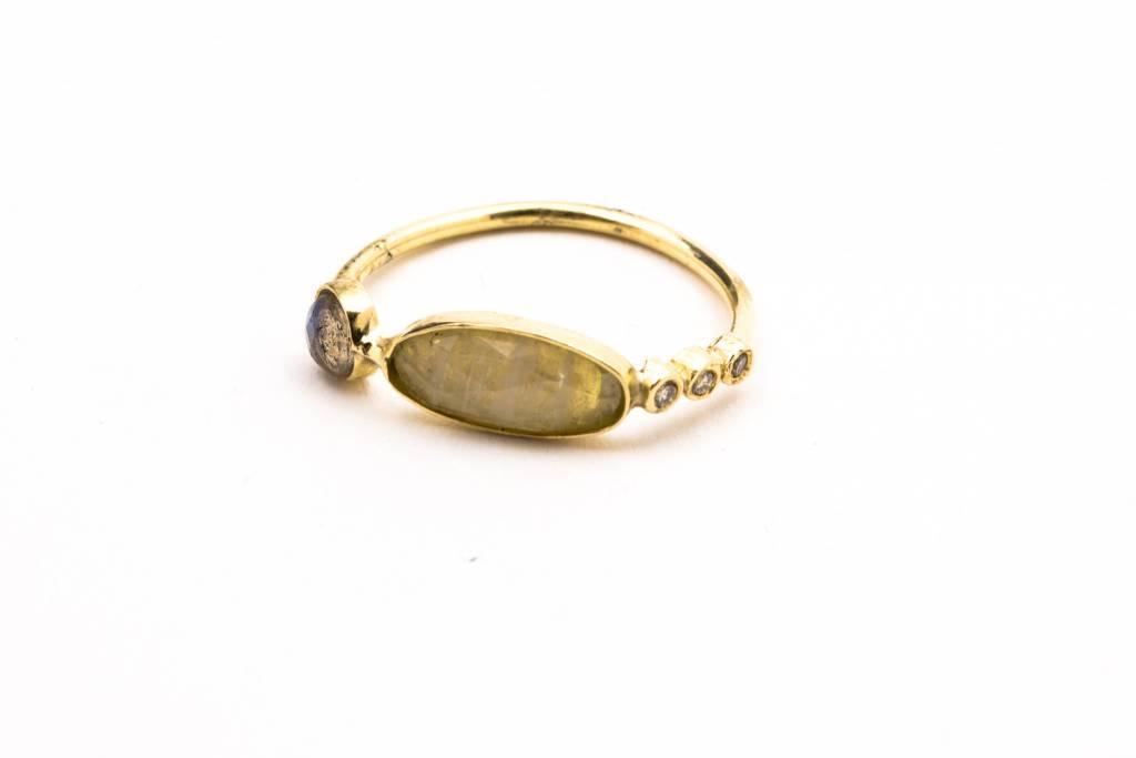 14K YG DIAMOND + GEMSTONE WAIF RING