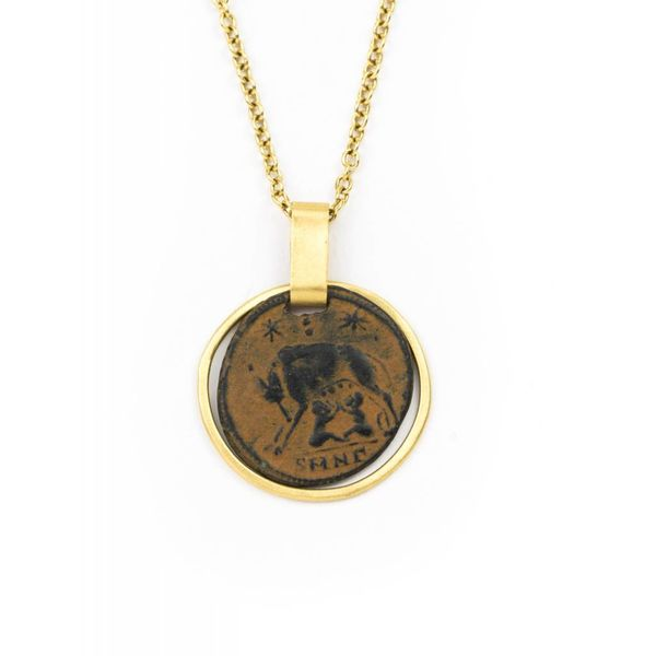 18K GOLD CHAIN WITH ANCIENT COIN + 18K GOLD ACCENTS