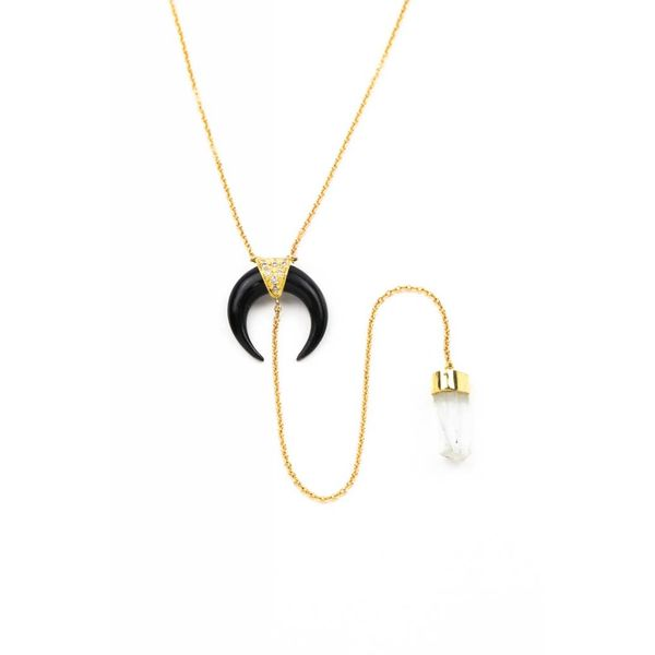 Black horn + Aquamarine Crystal + 14K Yellow Gold Y NECKLACE