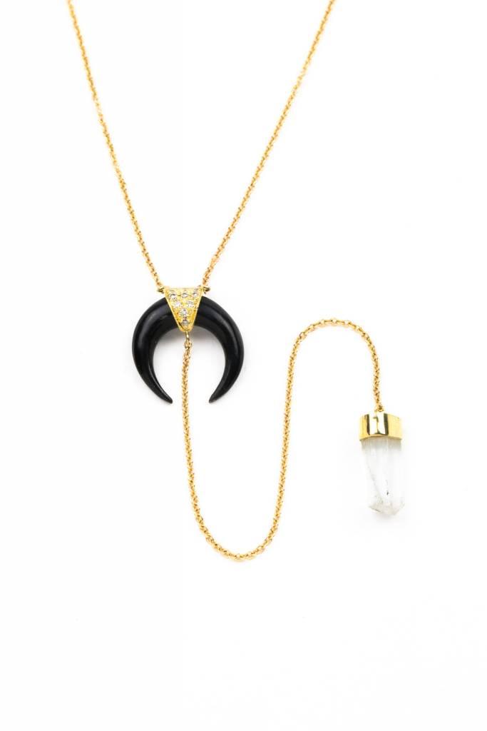 Black horn + Aquamarine Crystal + 14K Yellow Gold Y NECKLACE