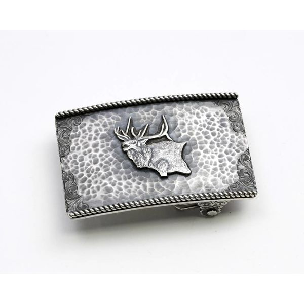 Rectangular Sterling Silver Trophy Buckle with Elk