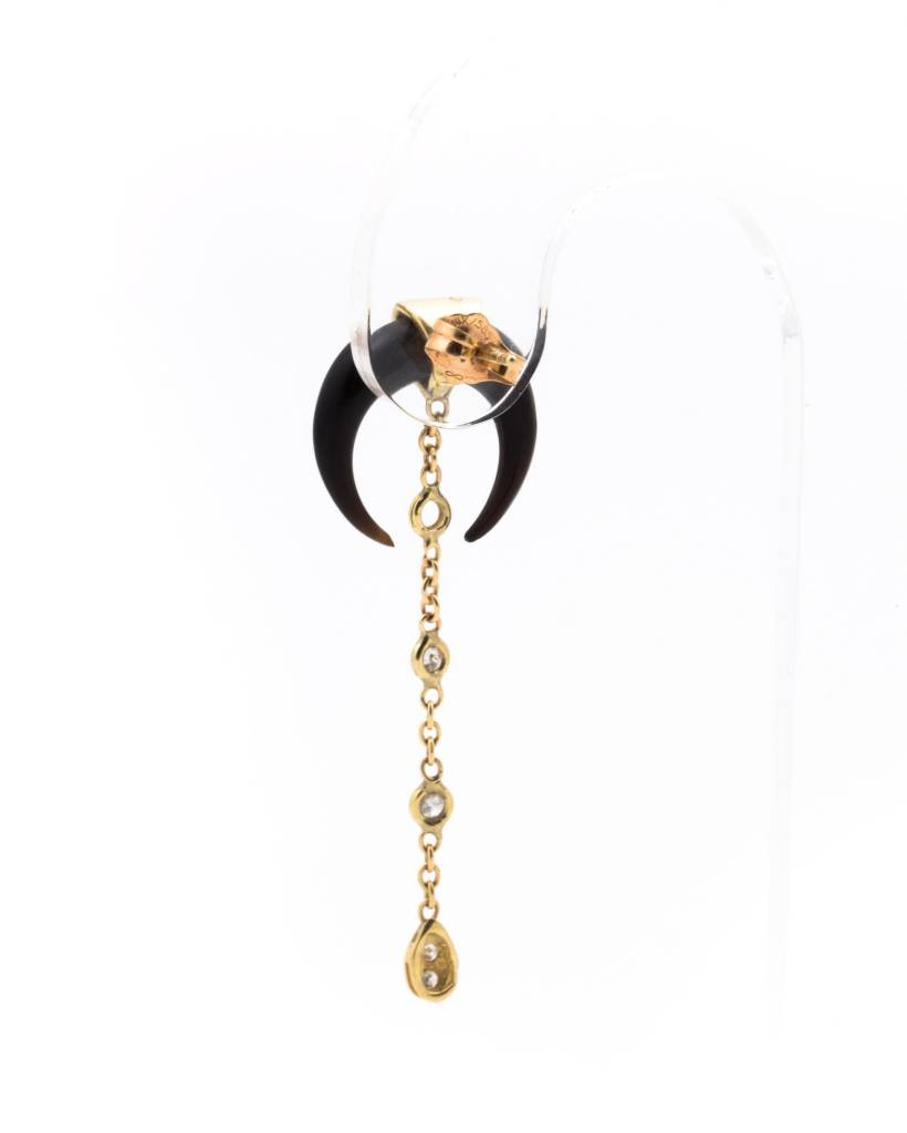 Ebony + Pave + Tinkerbell Chain Single Earring