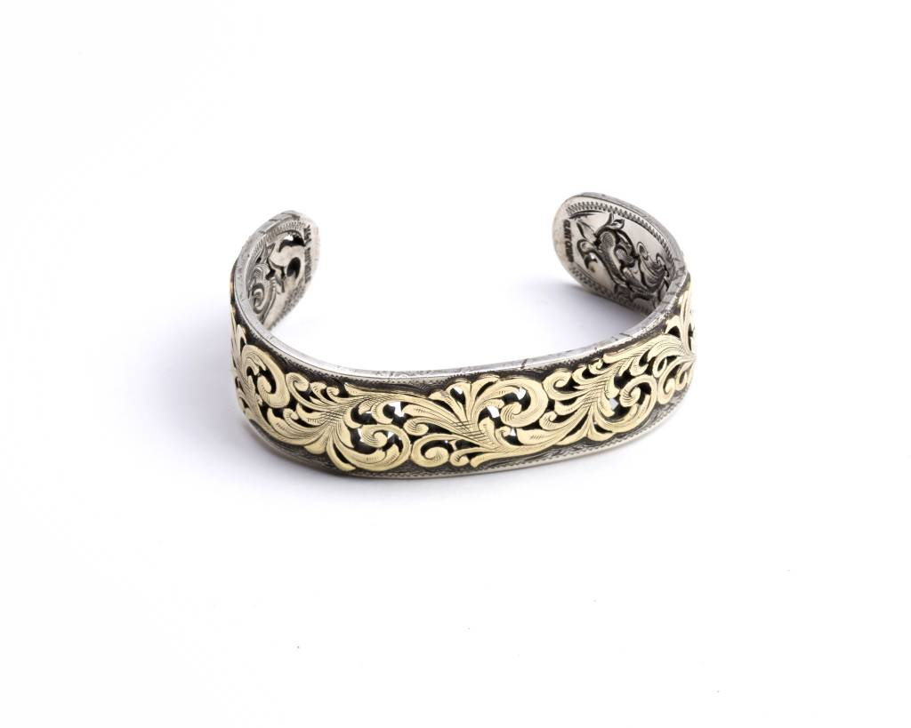 Sterling Silver Bracelet 14k Yellow Gold Overlay
