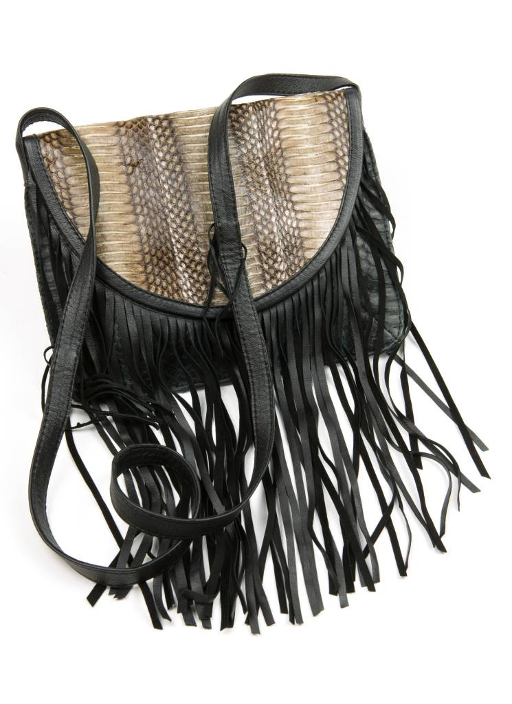 GA Large Fringe Cross Body - Black w/ Natural Flap