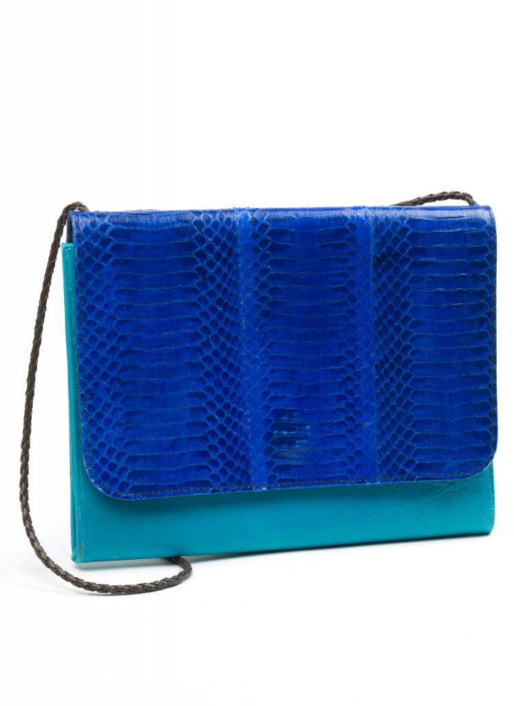 Turquoise Snakeskin + Leather Purse
