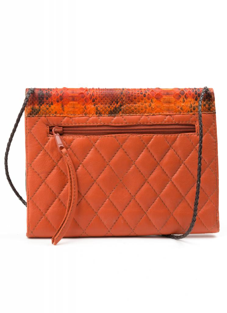 Orange Snakeskin + Leather Purse